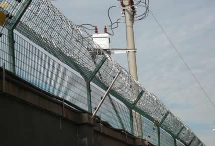 Prison Mesh with Posts and Razor Wire